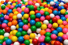 Colorful Gumballs On The White...