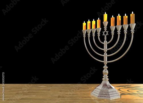 Hanukkah menorah 3D render Wallpaper Mural