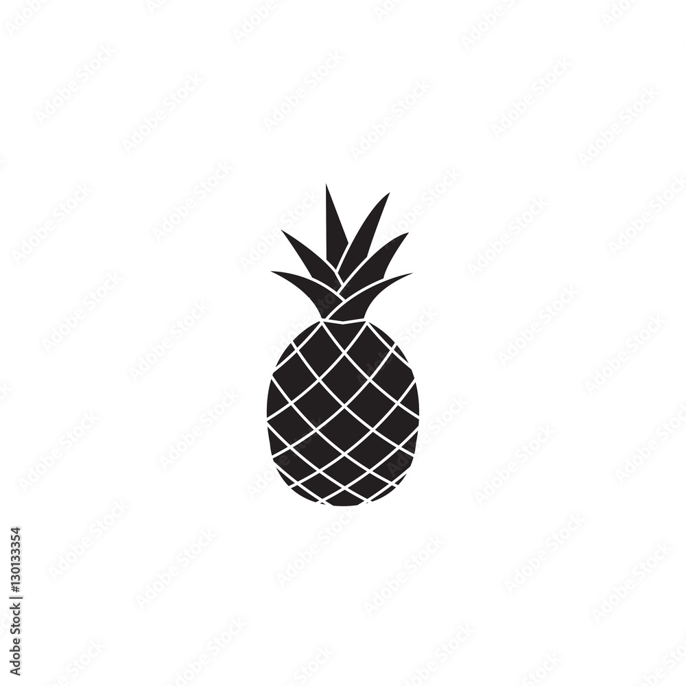 Fototapeta Pineapple & ananas solid icon, healthy fruit, vector graphics, a filled pattern on a white background, eps 10.