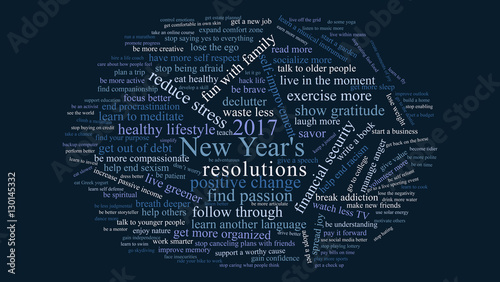 2017 new years resolutions tag cloud dark