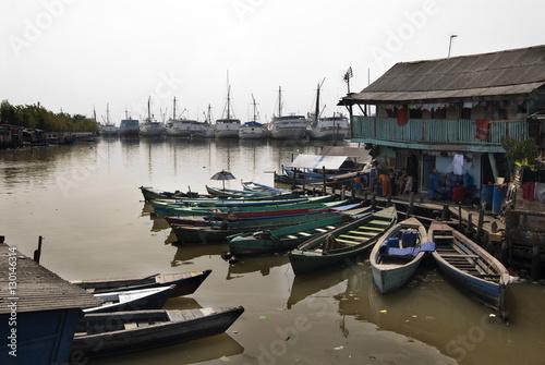 City on the water Village at old harbour, Sunda Kelapa, Jakarta, Indonesia, Southeast Asia, Asia