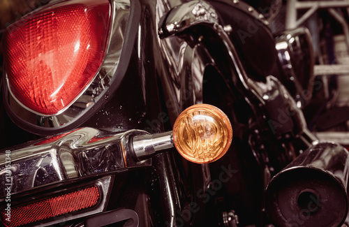 Fotografering Old and dirty motorcycle tail lights