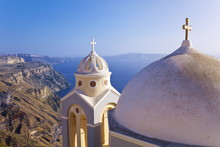 Greek Orthodox Church In Fira, Santorini (Thira), Cyclades Islands, Aegean Sea, Greek Islands, Greece