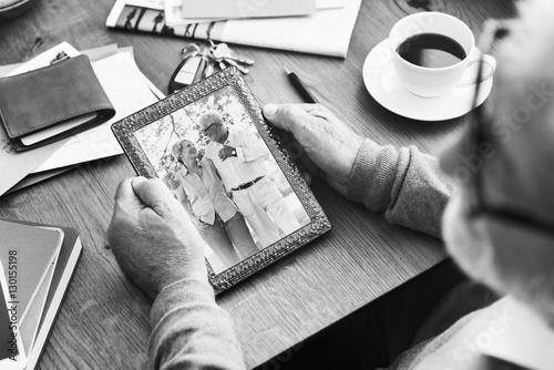 Senior Couple Photo Memories Photo Frame Concept Canvas