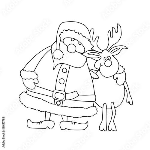 Weihnachtsmann Mit Elch Zum Ausmalen Umriss Malvorlage