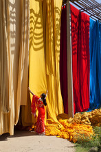 Woman In Sari Checking The Quality Of Freshly Dyed Fabric Hanging To Dry, Sari Garment Factory, Rajasthan