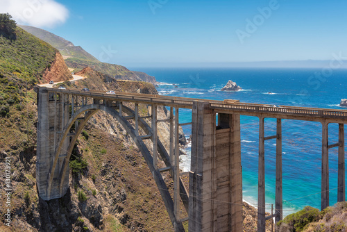 Bixby Bridge and Pacific Coast Highway near Big Sur in California, USA.