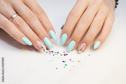 Foto op Canvas Manicure Natural nails, gel polish. Perfect clean manicure with zero cuticle. Nail art design for the fashion style.