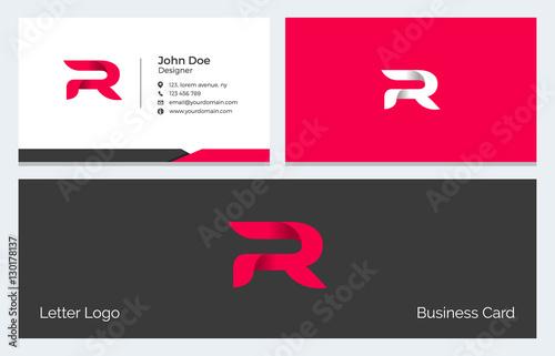 Photo  R Alphabet Letter Creative Polygonal Abstract vector logo