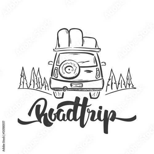 Vector illustration: Hand drawn travel car and handwritten lettering of Road Trip. Sketch line design.