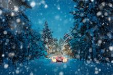 Winter Driving At Snowfall Nig...