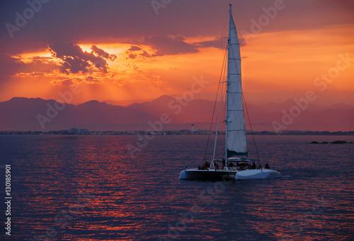 Foto op Aluminium Crimson Colorful sunset. Dramatic and Atmospheric landscape. Costa Brava