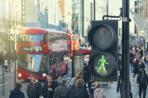 Poster Londres bus rouge traffic lights