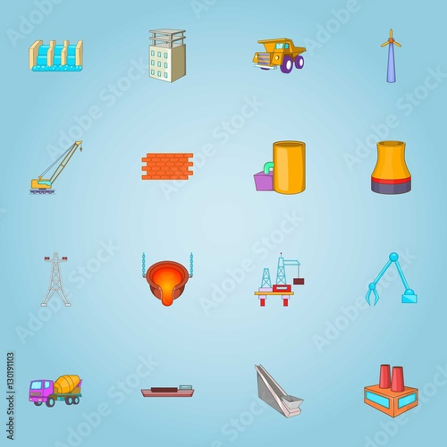 Production icons set Canvas Print