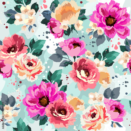 Fototapeta Beautiful seamless floral pattern with watercolor effect. Flower vector illustration obraz