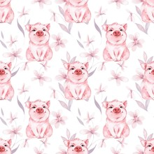 Pig And Flowers. Seamless Watercolor Pattern.