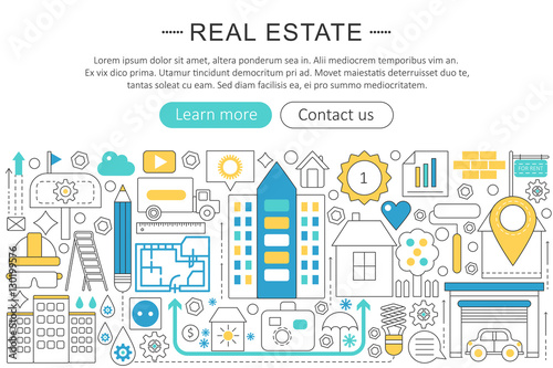 Vector Modern Line Flat Design Real Estate Property Concept Real Estate Icons Website Header App Design Poster Banner Buy This Stock Vector And Explore Similar Vectors At Adobe Stock Adobe Stock