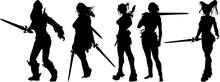 女性戦士のシルエット