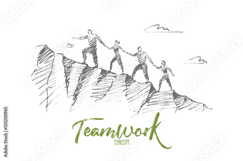 Fotografie, Obraz  Vector hand drawn teamwork concept sketch