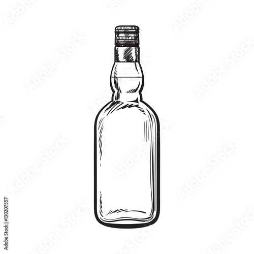 unopened unlabeled full whiskey bottle sketch style vector