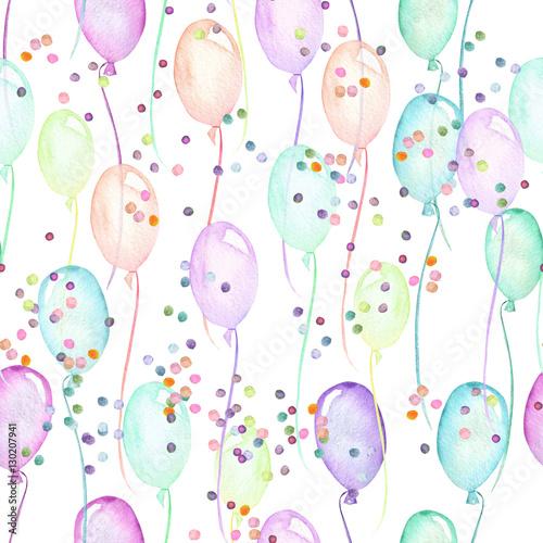bezszwowy-przyjecie-wzor-z-stubarwnymi-lotniczymi-balonami-i-confetti-reka-malowal-w-akwareli-na