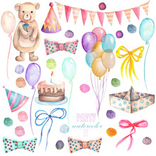Watercolor Party Set In The Form Of Isolated Elements: Garland Of The Flags, Confetti, Cake, Air Balloons, Arrow, Bows And Gifts; Hand Painted On A White Background