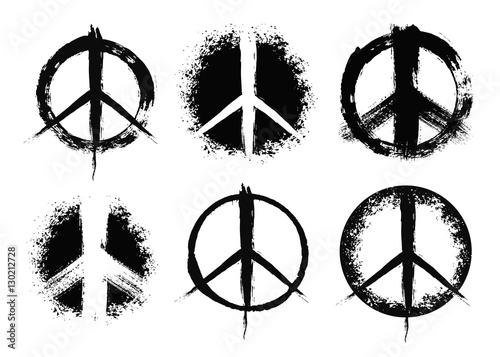 Valokuva Pacifist peace symbols set painted