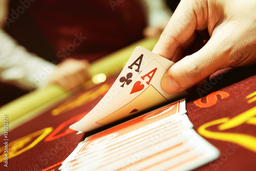 Poker cards ace hand success casino concept Poster