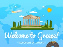 Welcome To Greece Poster With Famous Attraction Vector Illustration. Travel Design With Parthenon Temple On Acropolis. Famous Architectural Landmark And Worldwide Traveling, Tourist Agency Banner