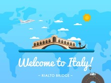 Welcome To Italy Poster With Famous Attraction Vector Illustration. Travel Design With Rialto Bridge In Venice. Famous Architectural Landmark And Worldwide Traveling Concept, Tourist Agency Banner