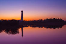 Cape May Lighthouse Silhouette Reflections