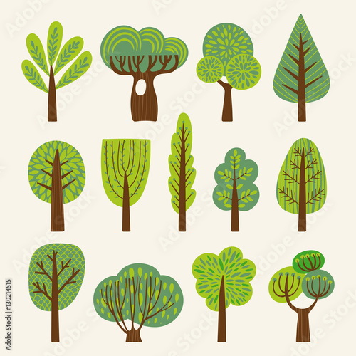 Set of illustrations with stylized trees Wall mural