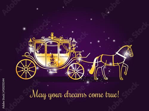 Fototapeta Bajkowy powóz z koniem i błyszczy na fioletowym tle z tekstem Niech twoje marzenia się spełnią. Ilustracji wektorowych