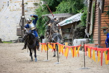 Knights Jousing During The Medieval Festival Of Provins, Seine-et-Marne, France