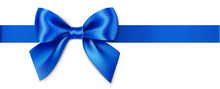 Decorative Blue Bow With Horizontal Ribbon. Vector Bow For Page Decor