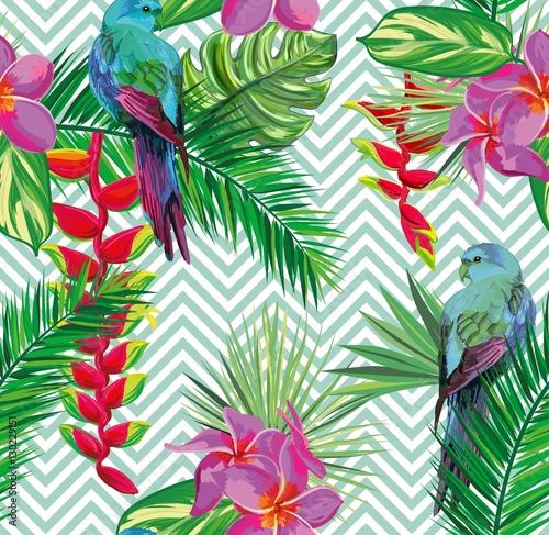 Tapeta ścienna na wymiar Tropikalna dżungla kwiatowy wzór tła z liści palmowych, kwiatów i egzotycznych papug