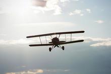 Microlight Biplane Flying Towards