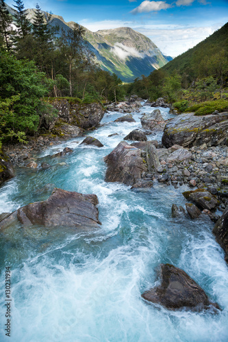 Poster Rivier Milky blue glacier river in Norway