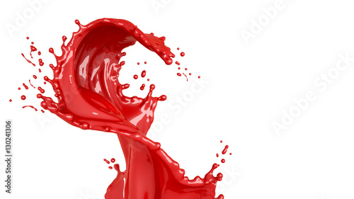 Isolated bursts of red paint on a white background. 3d illustrat