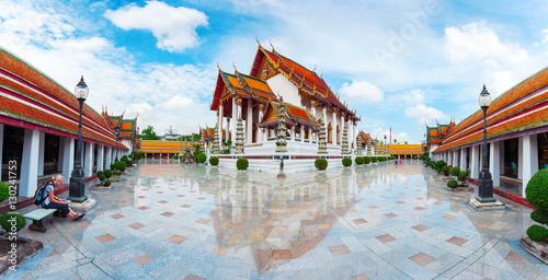 Tuinposter Bangkok Wat Suthat Thep Wararam in Bangkok, Thailand. Suthattepwararam Temple.