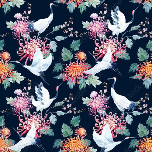 Naklejki żurawie  watercolor-crane-pattern