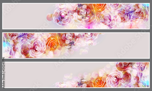 Set of three horizontal banners with beautiful flowers