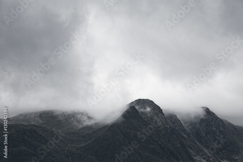 Fotografie, Obraz Gloomy mountain landscape. Matte photo processing.