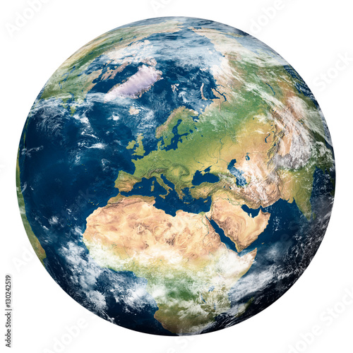 Tablou Canvas Planet Earth with clouds, Europe and part of Asia and Africa - Pianeta Terra con