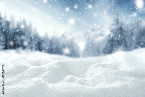 Poster Blanc winter space of snow
