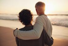 Retired Couple Watching Amazing Sunset