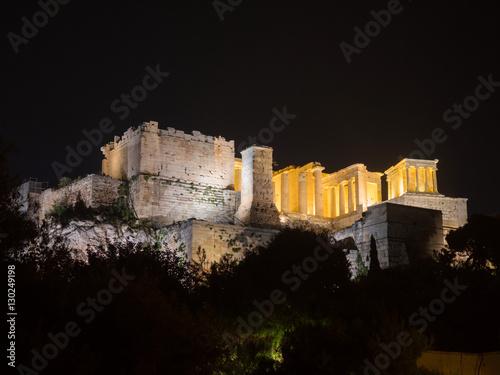 Plakat Akropolu wzgórze z Parthenon w Ateny Grecja