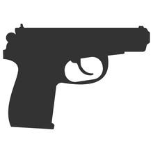 Pistol Handgun Silhouette Security And Military Weapon. Metal Pistol Gun. Criminal And Police Firearm Vector Illustration.