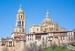Segovia - The Cathedral Nuestra Senora de la Asuncion y de San Frutos de Segovia and the old town.