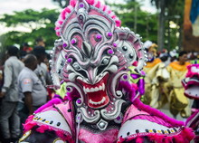 Colourful Dressed Masked Man In The Carneval (Carnival) In Santo Domingo, Dominican Republic